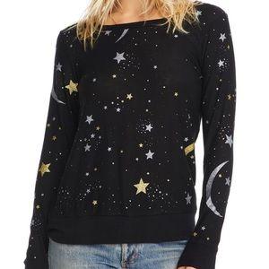 Chaser Women's Black Cozy Moon & Stars Sweatshirt